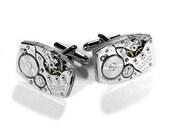 BULOVA Steampunk Watch Cufflinks Mens Art Deco GLEAMiNG Featured AUXILIARY MAGAZINE 2012 Anniversary Wedding - Jewelry by edmdesigns