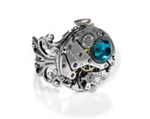 Steampunk Ring Vintage Silver Ruby Jeweled 10k Stem Watch ADJUSTABLE Band Turquoise Crystal Wedding Ring Steampunk Jewelry by edmdesigns