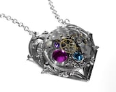 Steampunk Jewelry Necklace Vintage Pocket Watch Ornate Silver Heart Rose Turquoise Crystals Anniversary Mother's Day - Jewelry by edmdesigns