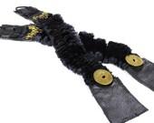Steampunk Shirt Garters - Sleeve Garter Black VELVET Leather Brass Coils Coins Mens Womens Garters - Steampunk Clothing by edmdesigns
