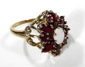RESERVED For A.......Antique Victorian Ring Garnet Opal Ring 10K Ca. 1880's Estate Ring GORGEOUS Wedding Ring - Jewelry by edmdesigns