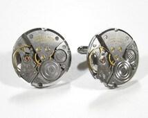 Mens Cufflinks Round CARAVELLE Watch Cufflinks Steampunk Cufflinks Wedding Anniversary Groom Fathers Day - Steampunk Jewelry by edmdesigns