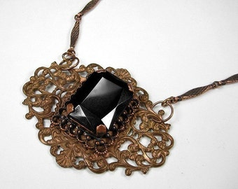 Steampunk Jewelry Necklace Victorian Filigree Dark TOPAZ, Fancy Chain Anniversary, Wedding Girlfriend Gift LAST ONE! - Jewelry by edmdesigns