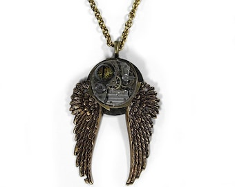 Steampunk Jewelry Necklace Vintage Nihilist Post Apocalypse Watch Movement Brass Wings Large Gears REPTILE EYE - Steampunk by edmdesigns