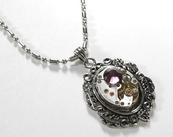 Steampunk Jewelry Necklace Womens Vintage Jewel Watch Amethyst Crystal Wedding Anniversary Holiday Bridal - Steampunk Jewelry by edmdesigns