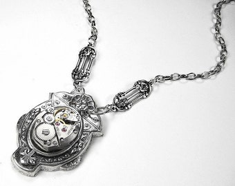 Steampunk Necklace Vintage Jewel SILVER Art Deco Watch Necklace Lightweight and GORGEOUS Very Feminine - Steampunk Jewelry by edmdesigns