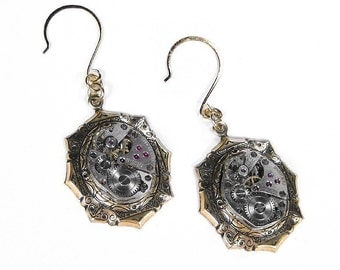 Steampunk Jewelry Earrings Vintage Watches Movements ORNATE Art Deco Anniversary Wedding Valentine Day Gift GORGEOUS - Jewelry by edmdesigns