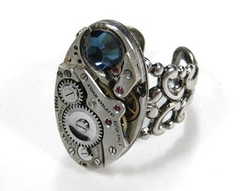 Steampunk Jewelry Ring Vintage OVAL Ruby Jeweled Silver Mens Womens Ring Swarovski Blue Crystal GORGEOUS - Steampunk Jewelry by edmdesigns