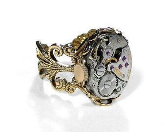 Steampunk Jewelry Ring Vintage RUBY Jeweled Watch Movement Adjustable Steam Punk Ring, Womens Mothers Day  - Steampunk Jewelry by edmdesigns