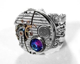 Steampunk Jewelry Ring HAMILTON PINSTRIPE Watch Adjust Silver Band, Blue Crystal, Anniversary Groom, Fiancee, Boyfriend Ring - by edmdesigns