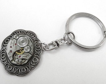 Steampunk Keychain Vintage Jeweled Watch Movement Key Ring Silver FILIGREE Wedding Anniversary Groom Fathers Day - Steampunk by edmdesigns