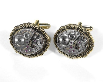 Mens Watch Cufflinks Vintage Jeweled Watch Cuff Links Anniversary Wedding, Fiancee Cufflinks, Fathers Day - Steampunk Jewelry by edmdesigns
