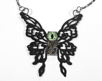 Steampunk Jewelry Necklace Black BUTTERFLY Vintage Watch Green REPTILE EYE Mens Women Taxidermy, Mens or Womens Gift - Jewelry by edmdesigns