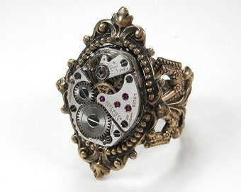 Steampunk Jewelry Ring Watch Movement Steam Punk Womens Victorian Ring Adjustable Birthday Anniversary Holiday Gift - Jewelry by edmdesigns