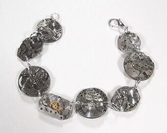 Steampunk Jewelry Bracelet Vintage Watch Parts Silver SKELETAL LOOK Industrial Birthday Burning Man, Girlfriend Gift - Jewelry by edmdesigns