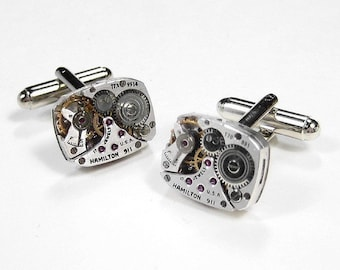 Mens HAMILTON Cufflinks Steampunk Cufflinks Watch Cuff Links In POSITIVE MAGAZINE Wedding Groomsmen Father - Steampunk Jewelry by edmdesigns