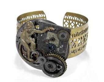 Steampunk Cuff, Steampunk Jewelry, INDUSTRIAL GRUNGE Pocket Watch UNISEX Cuff Bracelet Dial Gears Coil Spring Monkey - Jewelry by edmdesigns