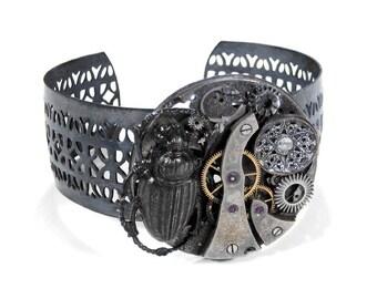 Steampunk Jewelry Cuff Vintage INDUSTRIAL Pocket Watch BEETLE Button Silver Gears Adjustable Punk Biker Burning Man - Jewelry by edmdesigns