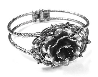 Steampunk Jewelry Bracelet Cuff Victorian Bracelet Large Silver Rose STUNNING Wedding Anniversary Valentine's Day - Steampunk by edmdesigns