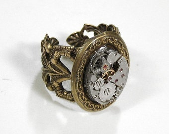 Steampunk Jewelry Ring Vintage Watch Movement Brass Scroll Filigree Ring Adjustable Mens Ring Womens Ring - Steampunk Jewelry by edmdesigns