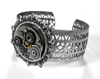 Steampunk Cuff Vintage Silver Watch Adjustable Cuff Bracelet Loaded Gears Parts Published in TIME OUT NY Magazine - Steampunk by edmdesigns