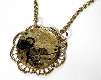 Steampunk Jewelry Necklace Vintage Pocket Watch Topaz Crystal Featured STEAMPUNK JEWELRY Book Anniversary Wedding - Steampunk by edmdesigns