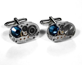 Mens Cufflinks Vinatge ELGIN Oval Ruby Jeweled Watch Cuff Links BLUE Swarovski Crystals Groomsmen Father - Steampunk Jewelry by edmdesigns