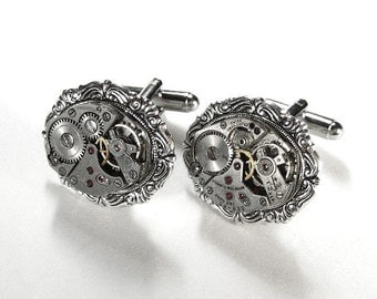 Steampunk Cufflinks Vintage Jewel Mens Watch Cuff Links Silver Scroll Wedding Anniversary Groomsmen Cufflinks Father - Jewelry by edmdesigns
