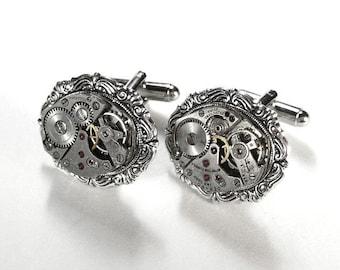 Steampunk Cufflinks Vintage Ruby Jeweled Watch Mens Cuff Links ORNATE Steam Punk Wedding Anniversary Groom - Steampunk Jewelry by edmdesigns
