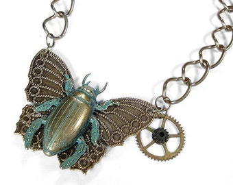 Steampunk Jewelry Necklace SCARAB Butterfly Verdigris Green Patina Brass Gears Large Link Chain Burning Man Jewelry - Jewelry by edmdesigns