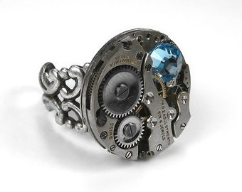 Steampunk Jewelry Ring Vintage Jeweled Watch Adjustable Filigree AQUA Swarovski Crystal Stone STRIKING - Steampunk Jewelry by edmdesigns