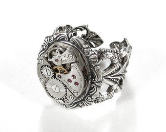 Steampunk Jewelry, Steampunk Ring ORNATE Silver Band Jeweled Watch, Fiancee Ring Mothers Day, Fathers Day, Steampunk Fashion - by edmdesigns