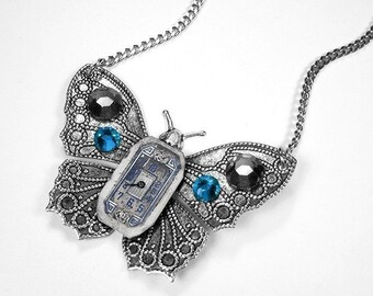 Steampunk Jewelry Necklace Womens ART DECO Watch Dial Silver BUTTERFLY Blue Black Crystal Wedding Anniversary Gift - Jewelry by edmdesigns