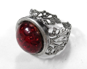 Steampunk Jewelry Ring Gothic Style RUBY Czech Glass CABOCHON Silver Adjustable Filigree Band STUNNING - Steampunk Jewelry by edmdesigns