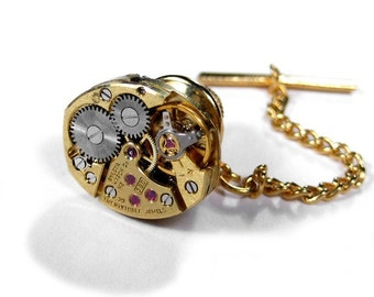 Mens Tie Tack Steampunk Vintage Gold Ruby Watch Movement SOLDERED Wedding Anniversary Groom Fathers Day - Steampunk Jewelry by edmdesigns
