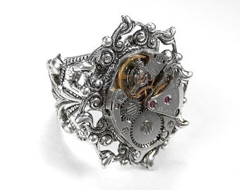 Steampunk Jewelry Ring Vintage SILVER Ornate CITIZEN Watch Movement  Womens Wedding Mers Ring, Mother Ring - Steampunk Jewelry by edmdesigns