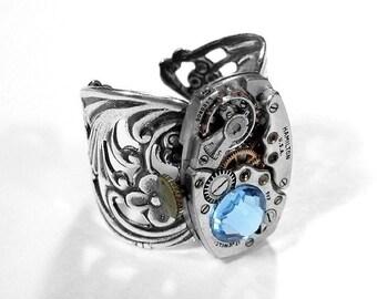 Steampunk Jewelry Ring ART DECO Watch Aqua Crystal Filigree Silver Band Girlfriend, Boyfriend, Mothers, Men or Women - Jewelry by edmdesigns