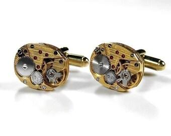 Steampunk Jewelry Mens Cufflinks Vintage Gold HAMILTON Pinstripe Watch Cuff Links Wedding Anniversary Groomsmen Gift - Jewelry by edmdesigns