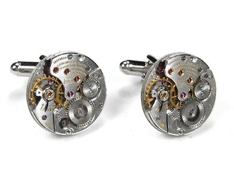 Mens LONGINES Cufflinks Steampunk Jewelry LUXURY Round Cuff Links Featured in MAXIM Mens Magazine Wedding Groom Fiancee Gift - by edmdesigns