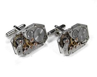 Mens WALTHAM Cufflinks Steampunk Jewelry Vintage Watch Cuff Links Wedding Anniversary Groom Fiancee Cufflinks Gift - Jewelry by edmdesigns