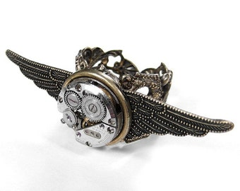 Mens Steampunk Ring, Steampunk Jewelry Vintage Watch Textured WINGS Adjustable - Birthday, Burning Man, Fathers Day - Jewelry by edmdesigns