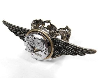 Steampunk Jewelry Ring Vintage Ruby Jewel Watch TEXTURED WINGS Wedding Punk Rocker Biker Ring GORGEOUS - Steampunk Jewelry by edmdesigns