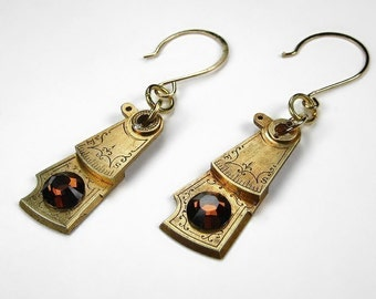 Steampunk Jewelry Earrings Vintage GOLD Watch Parts Etched Topaz Swarovski Wedding Anniversary Brides, Mothers Day - Jewelry by edmdesigns