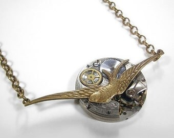 Steampunk Jewelry Necklace Vintage Pocket Watch Victorian Bird Steam Punk Womens Mothers Mom Bride Wedding - Steampunk Jewelry by edmdesigns