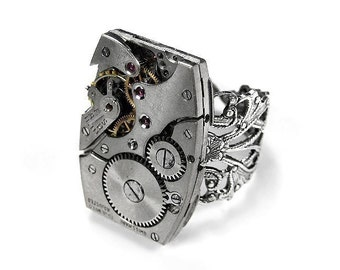 Steampunk Jewelry Ring Vintage Jeweled Watch Art Deco Watch Silver Filigree Mens Steam Punk Ring, Fathers Day Gift - Steampunk by edmdesigns