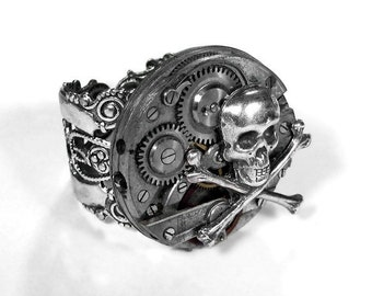 Steampunk Jewelry Mens Ring Silver Bold Segmented Watch Movement SKULL BONES Gears Mens Womens Rocker Punk Ring COOL - Jewelry by edmdesigns