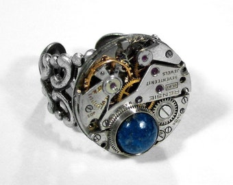 Steampunk Jewelry Ring Vintage Ruby Jeweled Watch Blue LAPIS Gem Wedding Anniversary Mother Holiday Gift - Steampunk Jewelry by edmdesigns