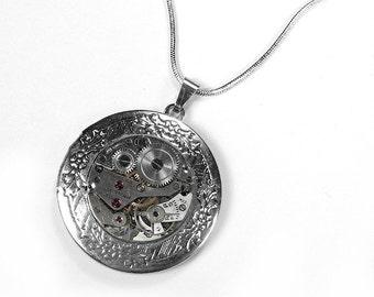 Steampunk Jewelry, Steampunk Necklace, Vintage Watch Silver Floral Locket, STERLING SILVER Memory Locket Mothers Day - Jewelry by edmdesigns