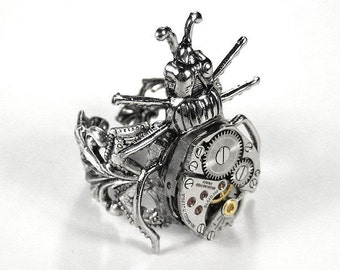 Steampunk Ring Vintage Jewel Watch BEETLE BUG Silver Adjustable Filigree Band Steam Punk Mens Womens Ring - Steampunk Jewelry by edmdesigns