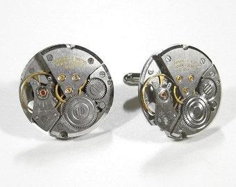 Mens Cufflinks Round CARAVELLE Watch Cufflinks Steampunk Cufflinks Wedding Anniversary Groomsmen Fathers - Steampunk Jewelry by edmdesigns